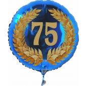 Luftballon aus Folie zum 75. Geburtstag, blauer Rundballon, Zahl 75 im Lorbeerkranz, inklusive Ballongas