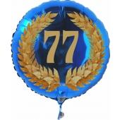 Luftballon aus Folie mit Ballongas, Zahl 77 im Lorbeerkranz, zum 77. Geburtstag, Jubiläum oder Jahrestag