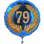 Luftballon aus Folie mit Ballongas, Zahl 79 im Lorbeerkranz, zum 79. Geburtstag, Jubiläum oder Jahrestag