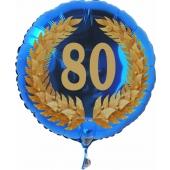 Luftballon aus Folie zum 80. Geburtstag, blauer Ballon, Zahl 80 im Lorbeerkranz, inklusive Ballongas