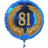 Luftballon aus Folie mit Ballongas, Zahl 81 im Lorbeerkranz, zum 81. Geburtstag, Jubiläum oder Jahrestag