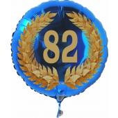Luftballon aus Folie mit Ballongas, Zahl 82 im Lorbeerkranz, zum 82. Geburtstag, Jubiläum oder Jahrestag
