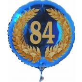 Luftballon aus Folie mit Ballongas, Zahl 84 im Lorbeerkranz, zum 84. Geburtstag, Jubiläum oder Jahrestag