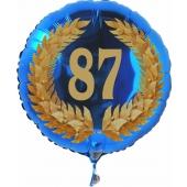 Luftballon aus Folie mit Ballongas, Zahl 87 im Lorbeerkranz, zum 87. Geburtstag, Jubiläum oder Jahrestag
