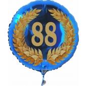 Luftballon aus Folie mit Ballongas, Zahl 88 im Lorbeerkranz, zum 88. Geburtstag, Jubiläum oder Jahrestag