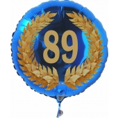 Luftballon aus Folie mit Ballongas, Zahl 89 im Lorbeerkranz, zum 89. Geburtstag, Jubiläum oder Jahrestag