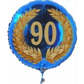 Luftballon aus Folie mit Ballongas, Zahl 90 im Lorbeerkranz, zum 90. Geburtstag, Jubiläum oder Jahrestag