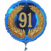 Luftballon aus Folie mit Ballongas, Zahl 91 im Lorbeerkranz, zum 91. Geburtstag, Jubiläum oder Jahrestag