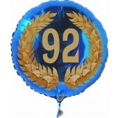 Luftballon aus Folie mit Ballongas, Zahl 92 im Lorbeerkranz, zum 92. Geburtstag, Jubiläum oder Jahrestag
