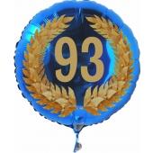 Luftballon aus Folie mit Ballongas, Zahl 93 im Lorbeerkranz, zum 93. Geburtstag, Jubiläum oder Jahrestag