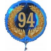 Luftballon aus Folie mit Ballongas, Zahl 94 im Lorbeerkranz, zum 94. Geburtstag, Jubiläum oder Jahrestag