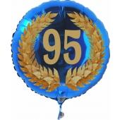 Luftballon aus Folie zum 95. Geburtstag, blauer Rundballon, Zahl 95 im Lorbeerkranz, inklusive Ballongas