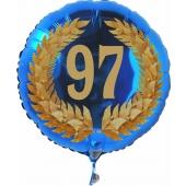 Luftballon aus Folie mit Ballongas, Zahl 97 im Lorbeerkranz, zum 97. Geburtstag, Jubiläum oder Jahrestag
