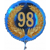 Luftballon aus Folie mit Ballongas, Zahl 98 im Lorbeerkranz, zum 98. Geburtstag, Jubiläum oder Jahrestag