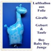 Große Giraffe, Luftballon mit Helium zu Geburt und Taufe eines Jungen: It's a Boy