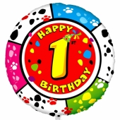 Luftballon aus Folie mit Ballongas Helium zum 1. Geburtstag, Animalloon