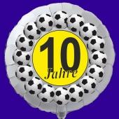 Luftballon aus Folie zum 10. Geburtstag, weisser Rundballon, Fußball, inklusive Ballongas