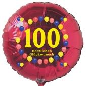 Luftballon aus Folie zum 100. Geburtstag, roter Rundballon, Balloons, Herzlichen Glückwunsch, inklusive Ballongas
