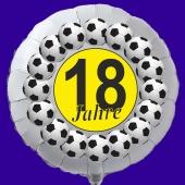 Luftballon aus Folie zum 18. Geburtstag, weisser Rundballon, Fußball, inklusive Ballongas