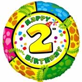 Luftballon aus Folie zum 2. Geburtstag, Animalloon, inklusive Ballongas