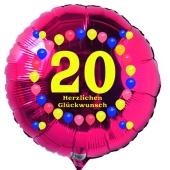 Luftballon aus Folie zum 20. Geburtstag, roter Rundballon, Balloons, Herzlichen Glückwunsch, inklusive Ballongas