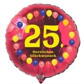 Luftballon aus Folie zum 25. Geburtstag, roter Rundballon, Balloons, Herzlichen Glückwunsch, inklusive Ballongas