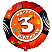 Luftballon aus Folie zum 3. Geburtstag, Animalloon, inklusive Ballongas