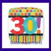 Luftballon aus Folie mit Helium, Dots and Stripes, zum 30. Geburtstag