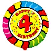 Luftballon aus Folie zum 4. Geburtstag, Animalloon, inklusive Ballongas