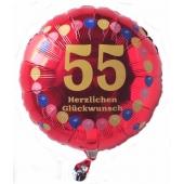 Luftballon aus Folie zum 55. Geburtstag, roter Rundballon, Balloons, Herzlichen Glückwunsch, inklusive Ballongas