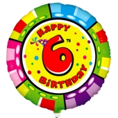 Luftballon aus Folie zum 6. Geburtstag, Animalloon, inklusive Ballongas