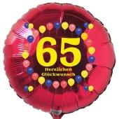 Luftballon aus Folie zum 65. Geburtstag, roter Rundballon, Balloons, Herzlichen Glückwunsch, inklusive Ballongas