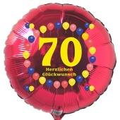 Luftballon aus Folie zum 70. Geburtstag, roter Rundballon, Balloons, Herzlichen Glückwunsch, inklusive Ballongas
