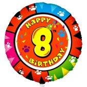 Luftballon aus Folie zum 8. Geburtstag, Animalloon, inklusive Ballongas