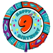 Luftballon aus Folie zum 9. Geburtstag, Animalloon, inklusive Ballongas