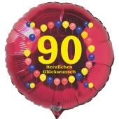 Luftballon aus Folie zum 90. Geburtstag, roter Folien-Rundballon, Balloons, Herzlichen Glückwunsch, inklusive Ballongas