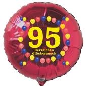 Luftballon aus Folie zum 95. Geburtstag, roter Rundballon, Balloons, Herzlichen Glückwunsch, inklusive Ballongas