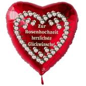 Roter Herzluftballon aus Folie: Zur Rosenhochzeit herzlichste Glückwünsche!