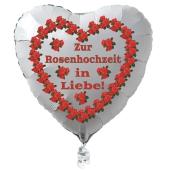 Weißer Herzluftballon aus Folie: Zur Rosenhochzeit in Liebe!