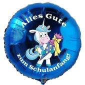 Alles Gute zum Schulanfang! Blauer Luftballon mit Einhorn, ohne Helium-Ballongas