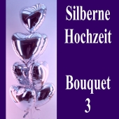 Silberne Hochzeit, Bouquet 3, silberne Herzluftballons mit Ballongas, Silberhochzeit Dekoration