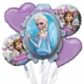 Luftballon-Bouquet die Eiskönigin, 5 Folienballons zum Kindergeburtstag mit Helium