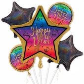 Silvester Bouquet Happy New Year Colorful mit Helium