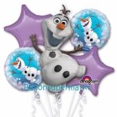 Luftballon-Bouquet Olaf, die Eiskönigin, 5 Folienballons zum Kindergeburtstag mit Helium