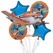 Luftballon-Bouquet Planes, 5 Folienballons zum Kindergeburtstag mit Helium