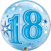 Luftballon Bubble zum 18. Geburtstag, Blau ohne Helium/Ballongas