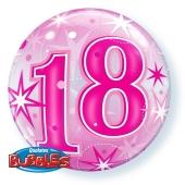 Luftballon Bubble zum 18. Geburtstag, Pink ohne Helium/Ballongas