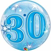 Luftballon Bubble zum 30. Geburtstag, Blau ohne Helium/Ballongas