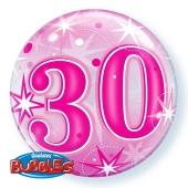 Luftballon Bubble zum 30. Geburtstag, Pink ohne Helium/Ballongas