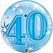 Luftballon Bubble zum 40. Geburtstag, Blau ohne Helium/Ballongas